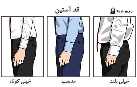 اندازه گیری قد آستین پیراهن مردانه