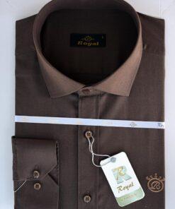 پیراهن کتان مردانه قهوه ای سوخته